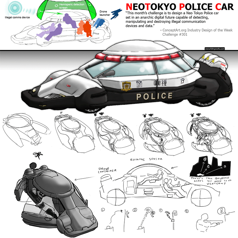 Neo Tokyo Police Car Industrial Design Concept by Hilmyworks