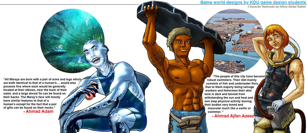 Character design fleshout waterworld