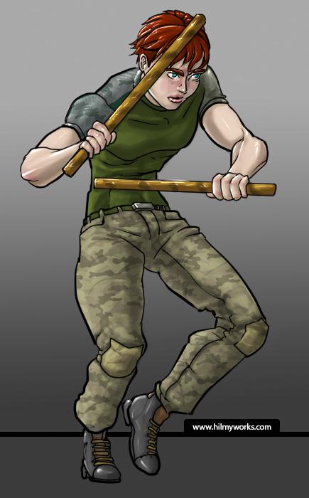 Kali-sticks wielding soldier.